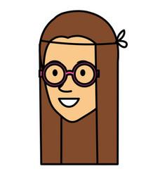 hippie woman head avatar character vector image