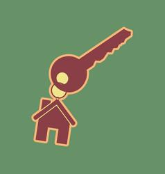 Key with keychain as an house sign vector