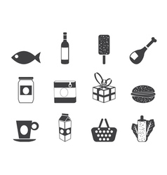 Silhouette food and drink icons 1 vector image