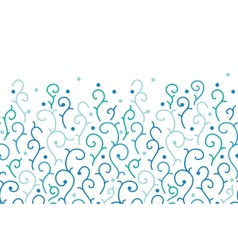 Blue abstract swirls horizontal seamless pattern vector image vector image