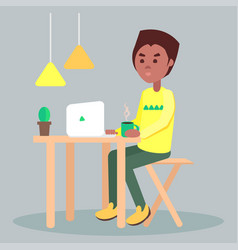 Browsing on laptop with cup of coffee flat vector