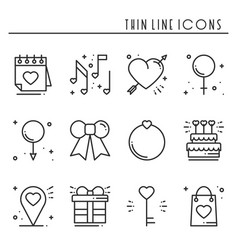 love line icons set happy valentine day signs and vector image vector image