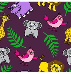 seamless background with Cartoon animals and palm vector image vector image
