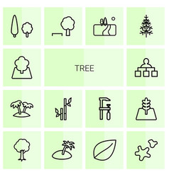 14 tree icons vector image