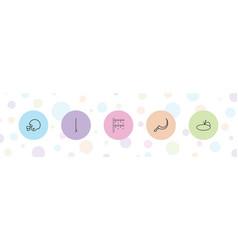 5 grass icons vector