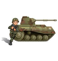 A soldier near armour tank vector