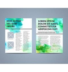 Abstract watercolour brochure flyer design vector image