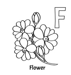 Alphabet letter f coloring page flower vector