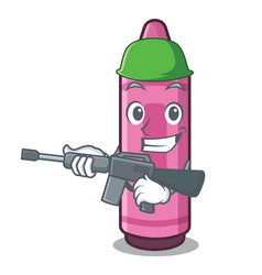 Army pink crayon isolated in mascot vector