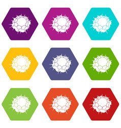 Atomic explosion icon set color hexahedron vector
