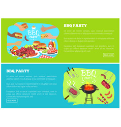 bbq party web sites with text vector image