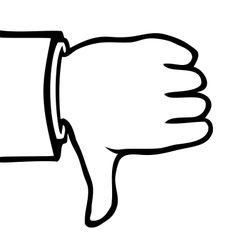 Black and white thumbs down vector image