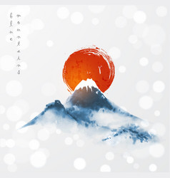 Blue mountains and big red sun symbol japan vector