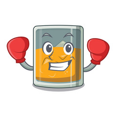 Boxing whiskey in a cartoon glass vector