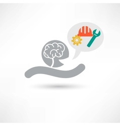 Brain and tools icon vector