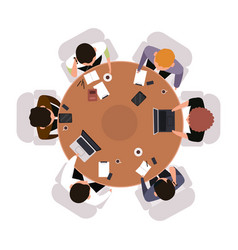 business meeting top view office workers vector image