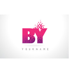 by b y letter logo with pink purple color and vector image
