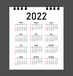 Calendar 2022 year week starts on sunday vector
