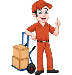 cartoon delivery man leaning on packages vector image