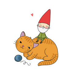 Cartoon gnome and cat christmas elf vector