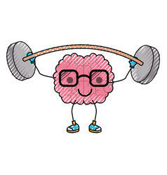 Cartoon with glasses train the brain with calm vector