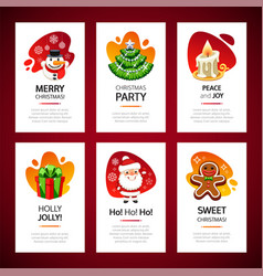christmas greeting cards light set vector image