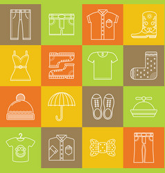 clothes and accessories lineart minimal iconset vector image