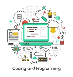 Coding and Programming Line Art Thin Icons vector image