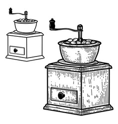 coffee mill in engraving style design element vector image