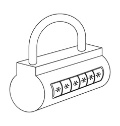 Computer password icon in outline style isolated vector image