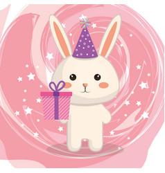 cute rabbit with gift kawaii birthday card vector image