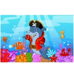 Cute shark pirate cartoon with collection fish vector image