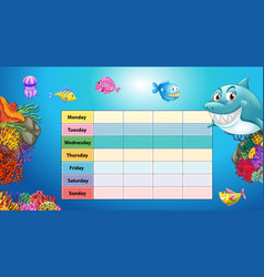 Days week table with underwater background vector