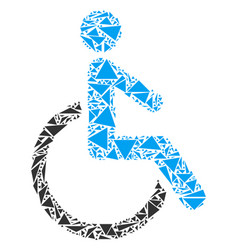 disabled person collage of triangles vector image