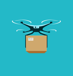 Drone with box delivery service vector