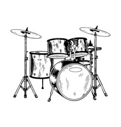Drum set engraving vector