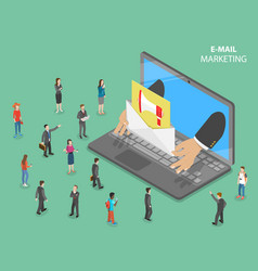E-mail marketing flat isometric concept vector