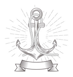 Emblem with vintage anchor with rope and banner vector