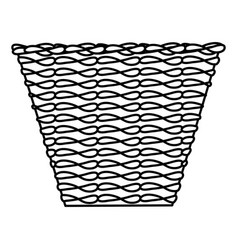 Ethnic straw basket isolated icon vector