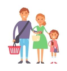 Family in supermarket portrait vector