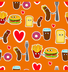 Fast food love seamless emoticons vector