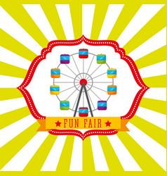 ferris wheel carnival fun fair retro label vector image