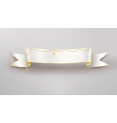 Festive white ribbon banner vector image