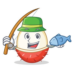 Fishing rambutan mascot cartoon style vector