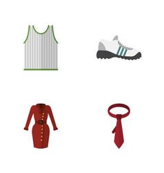Flat icon garment set of cravat singlet sneakers vector