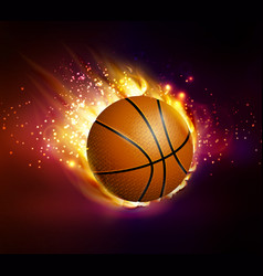 Flying basketball on fire vector