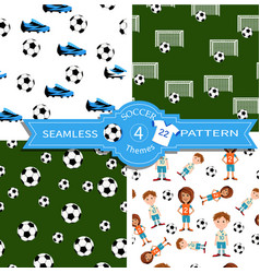 Four seamless soccer pattern vector