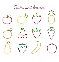 Fruits and berries outline icons set vector image