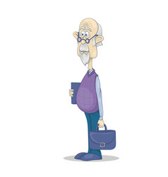 funny bald grandfather with gray hair and beard in vector image
