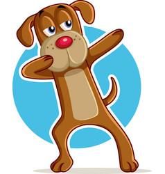 funny dog dabbing cartoon vector image